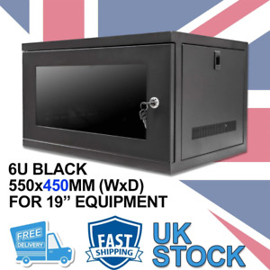 """6U 19"""" 450MM Network Cabinet Data Comms Wall Rack for Patch Panel, Switch, PDU"""