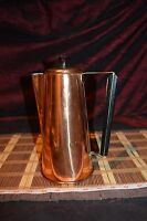 """Vintage Copper Coffee Pot, Teapot With Brass and Wood Handle  9 3/8""""x6 1/2"""""""