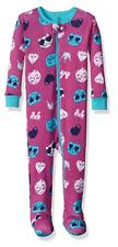 Petit Lem Girls' Printed Footed Pajamas, Emoji Cat, 18 Months