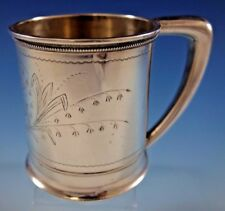 Whiting Sterling Silver Baby Child's Cup Mug w/ Bleeding Hearts #151J Dated 1875