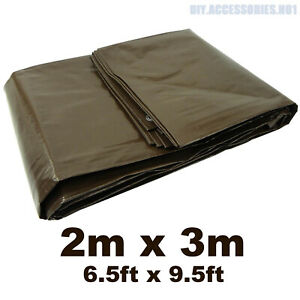 BROWN 2 m x 3 m ( 6.5 ft x 9.5 ft ) 210 GSM Tarpaulin Ground Sheet Heavy Duty
