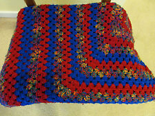 Vintage Afghan Blanket Throw Handmade Crochet Granny Square Blue & Red 65 X 65