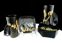 "STUDIO ART POTTERY KP SIGNED METALLIC DRIP GLAZE 4 PC 3 7/8"" CUP AND SAUCER SETS"