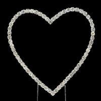 Heart - Silver Diamante Rhinestone Birthday Wedding Cake Topper on Stem