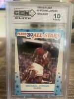 1989-90 Michael Jordan Fleer Sticker #3 Gem Elite 10 Pristine Chicago Bulls HOF