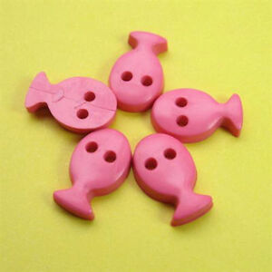 20 Fish Sea Craft Novelty Kid Sewing Buttons Scrapbooking Hot Pink K28
