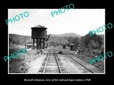 OLD POSTCARD SIZE PHOTO OF BOSWELL ARKANSAS THE RAILROAD DEPOT STATION c1940