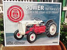FORD FARMING POWER THAT PURRS Tractor Tin Metal Sign Wall Garage Classic