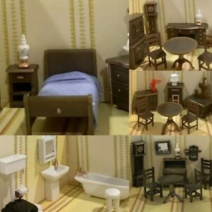 Miniature Dollhouse 5 Rooms Complete Furnished Lot & Acc. 1:148 Micro VTG HK