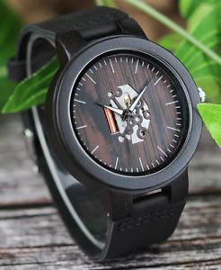 Men's Blackwood Watch with Black Leather Strap & Skeleton Face / Wooden Watch