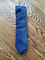 Bigi Cravatte Silk Jacquard Flower Motif Blue Tie