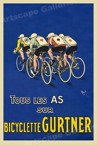 Bicyclette Gurtner 1918 Vintage French Bicycle Poster - 20x30