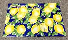 Vietri Pottery-Lemons 23,3/4x15,3/4,set Of 6 Tiles.Made/Painted by hand-Italy
