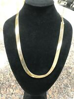14K Yellow Gold plated Necklace Chain 10mm Herringbone 24""