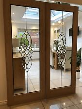 Beveled Glass Internal French Doors (Oak)