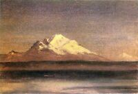 Snowy Mountains in the Pacific Northwest 2 by Bierstadt Giclee Repro on Canvas