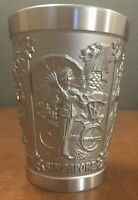 "Vintage New Southeast Asian Pewter Tumbler, 3 ¼"", 4 Countries, Very Nice"