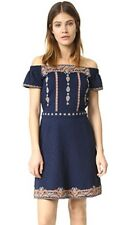 TORY BURCH Nell Royal Navy Embroidered Dress Seen On Celebrity Size XL NWT $350
