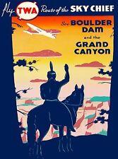 See Boulder Dam Grand Canyon Nevada Arizona TWA Vintage Airline Travel Poster