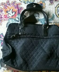 Liz Claiborne Shoulder Bag Satchel Purse Quilted Black Fabric Silver Accents