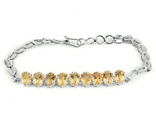 AAA Finest Quality Unheated Natural Citrine Bracelet ~925 Solid Sterling Silver
