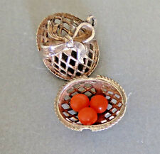 Vintage Fancy Sterling Silver EASTER EGG BASKET CHARM opens to EGGS Charm 3.3 gr