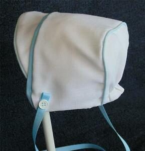 New Handmade White Linen with Blue Trim Baby Boy Bonnet