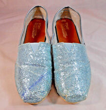 Toms One for One Womens Slip On Ballet Flats Shoes Size 9.5 Sequined Fabric Blue