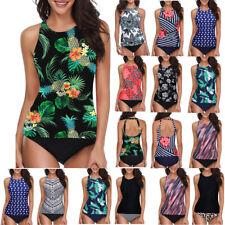 Women's Tankini High Waist High Neck Halter Tummy Control Two Piece Swimsuit