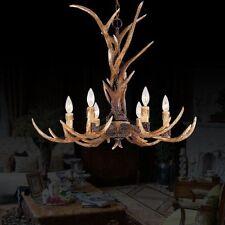 Effortinc Vintage Chandelier Deer Horn Resin 6 Lights Rural Countryside Antler C