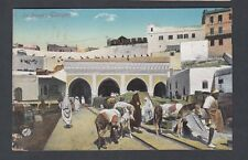 FRENCH MOROCCO 1913 CUSTOMS IN TANGIER POSTCARD USED FROM GIBRALTAR TO LONDON UK