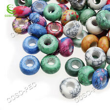 Wholesale 5pcs 5mm Big Hole Natural Turquoise 8x15mm Ring Beads High Polished