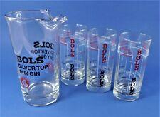 BOLS Silver Top Dry Gin - GlasSet - Krug + 3 Gläser - Pitscher and Glasses RETRO