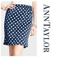 Ann Taylor BLUE with WHITE Polka Dot Shirttail Hem Skirt Size 0 *NWOT*