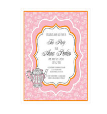 Tea Party PERSONALIZED Bridal Shower Birthday Party Invitations - Set of 16