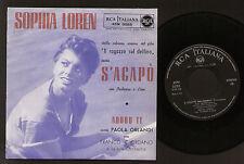"""7"""" SOPHIA LOREN S'AGAPO' COLONNA SONORA FILM IL RAGAZZO SUL DELFINO RCA 45N 0585"""