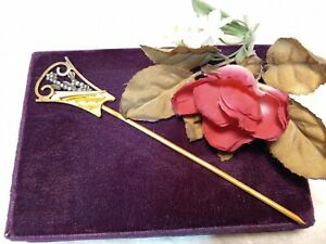 Antique Victorian Steel Bead Hair Comb Brass Filigree Hair Stick Pin Ornament