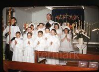1950s  red border Kodachrome photo slide Boys and Girls Catholic Church