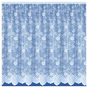 "FLORAL  WHITE NET CURTAINS ANY SIZE DROPS: 30"" - 50"" x WIDTH: 1 - 10 METRES"
