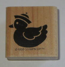 Rubber Ducky Stamp Hat Stampin' Up! Bath Toy Duck Wood Mounted