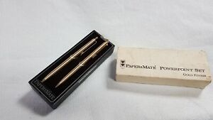 Paper Mate Vintage POWERPOINT SET PEN AND PROPELLING PENCIL GOLD FINISH