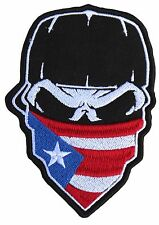 """SKULL with CAP and PUERTO RICO FLAG Hanky 9"""" x 13"""" embroidered CENTER Patch 0593"""