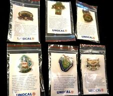 1987 LA DODGERS UNOCAL 76 PIN SET - (6) PINS - WITH PIN INFORMATION  CARD IN BAG
