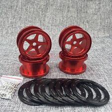 "AXIAL WRAITH Full Aluminum Beadlock 5-Star 2.2"" Wheel Rim (4) RED For Rock Truck"