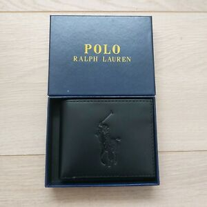 Polo Ralph Lauren Big Pony Black Leather Billfold Wallet With Gift Box ID Holder
