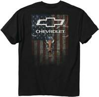 Chevy Mens Graphic Tee Skulls and Stripes Chevrolet Black T-shirt Adult Size