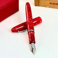 Esterbrook Estie Fountain Pen in Maraschino Red Silver Trim - 1.1mm Stub Nib