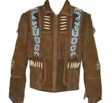 Men Western Leather jacket Fringed & beaded, Quality Suede,  XS-4XL