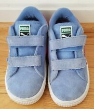 Euc Puma Toddler Girls shoes sneaker blue/pink raspberry 9.5 9 1/2 Suede Strap