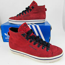 Adidas Originals HONEY HOOK Sz 4 EU 36 RED Suede Hi-Tops Trainers Girls Maroon